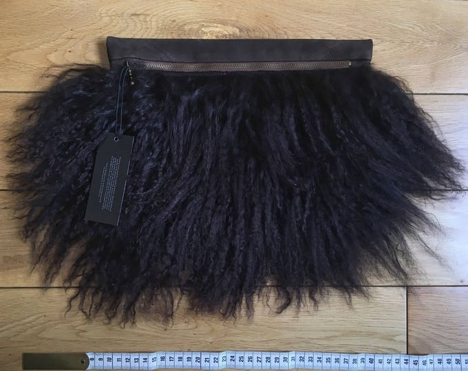 Chocolate Mongolian Fur & Suede Pouch