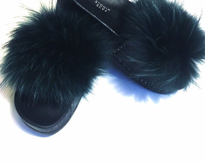 Ladies Raccoon & Leather stud flat Dark Green rubber fluffy furry sliders sandals slippers