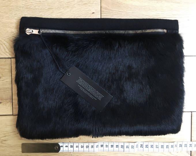 Black Fur & Wool Pouch