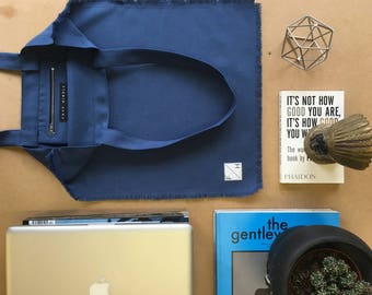 Mid Blue frayed edge Cotton twill Tote bag