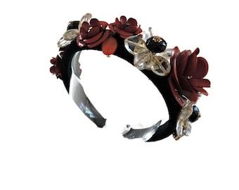 Pearls Bridal Headband Tiara GuanjunLI 1Pc Wedding Headpieces Flower Wreath Crystals Hair Accessories for Bride Bridesmaid
