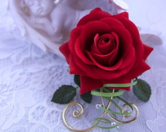 Red Rose boutonniere chic and elegant for wedding/pink red boutonhole chic and elegant