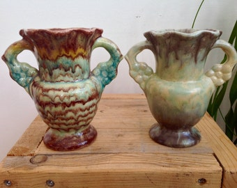 French antique, two vintage green / turquoise/ brown vases, handpainted, 1930-1940