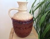 Large West Germany vintage vase. Amphora vase. Retro ceramic. 70s chocolate brown vase. Mid century pottery