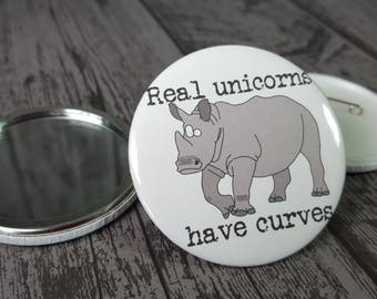 Real unicorns have curves funny animal hand pocket compact mirror hadmade by Relephant Cards. Small gift. Matching badge and card available