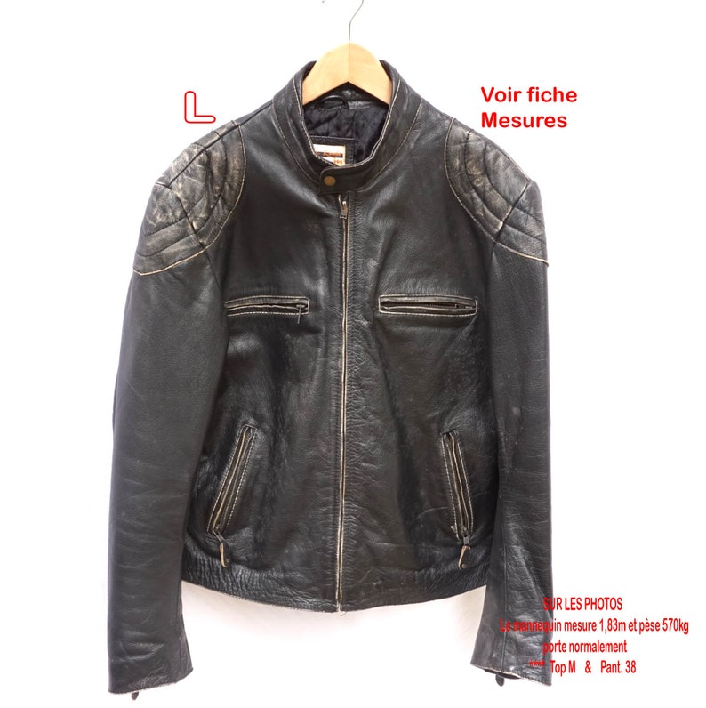 thick leather Biker jacket LXL Vintage
