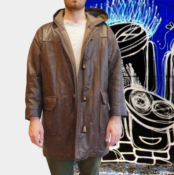 Leather duffel coat parka * Excellent vintage cond