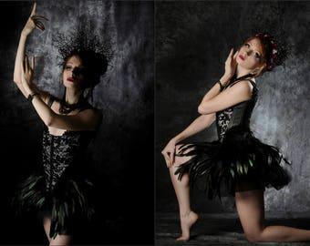 Black swan corset / Odile corset /  Overbust Corset 18th century inspired / Gothic corset / Ballet corset