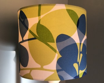 Handmade drum lampshade made from Scion Lunaria fabric blue and lime