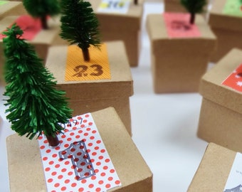Advent calendar for self-filling crafts: 24 boxes of fir tree bags for children adults, homemade, reusable