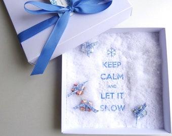 Geldgeschenk Ein paar Flocken Schneeflocken Reise Skiurlaub Weihnachten, Schnee Weihnachtsgeschenk Geld schenken verschenken schnurzpieps