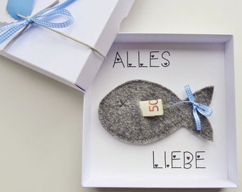Money Gift Packaging Baptism Communion Confirmation Birth Gift Confirmation: Fish Blue Boy, Give Money Gift Cordzpieps Card