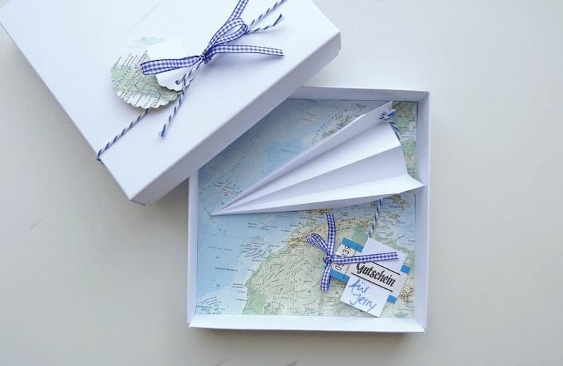 Money gift Packaging Travel voucher airplane birthday wedding image 0