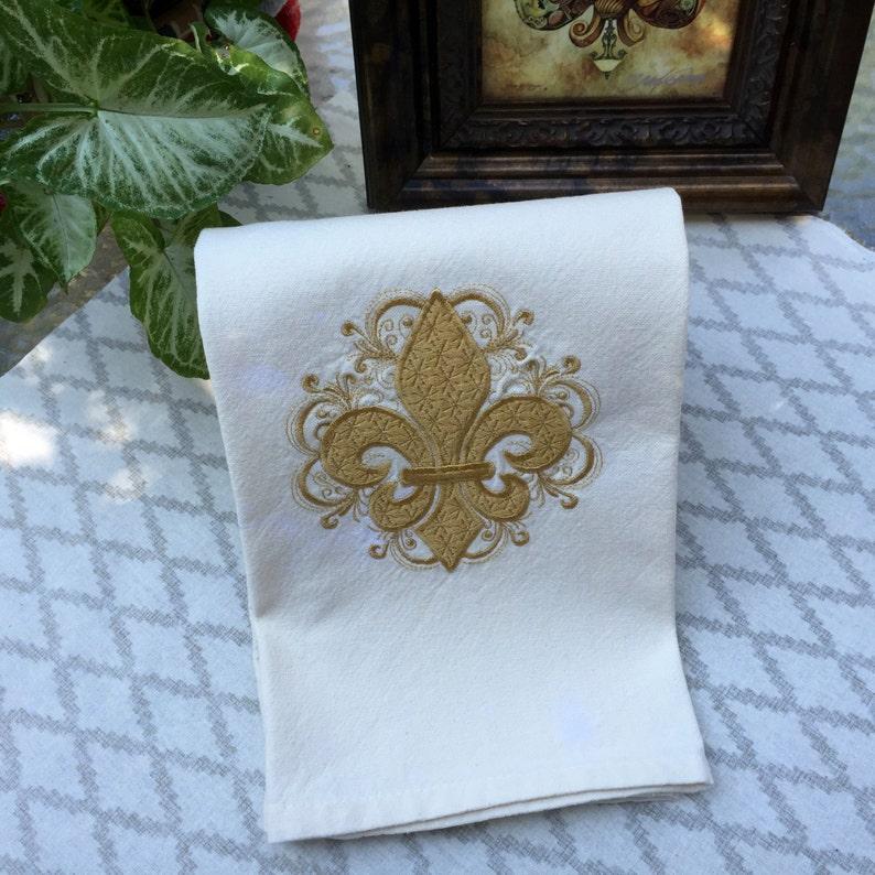 Fleur de lis Kitchen Kitchen Towel White and Gold Decor Mothers Day Louisiana Decor Tea Towels Bridal Shower Gift Gift for Women