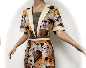 vintage 80s dress 40s style landgirl safari look 1980s 14 / 16 uk  m l  / l