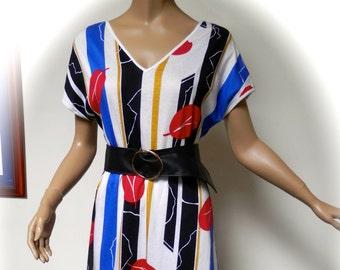 a3558677c20d vintage 80s dress indie new wave summer boho stripe op art 1980s 10   12 uk s  m