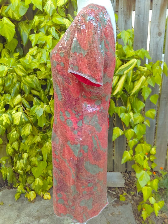 A Special Red/orange Sequin 20's Style Vintage Dr… - image 4