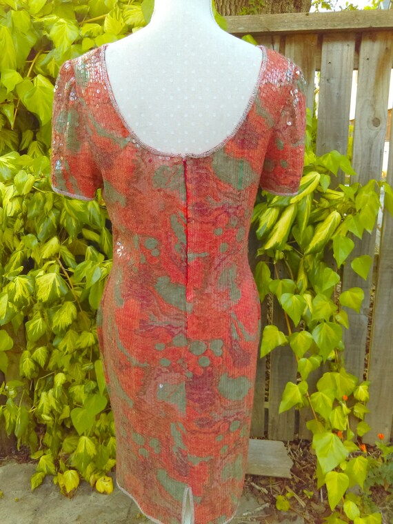 A Special Red/orange Sequin 20's Style Vintage Dr… - image 5