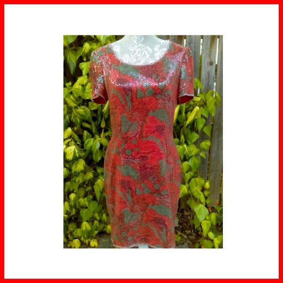 A Special Red/orange Sequin 20's Style Vintage Dr… - image 1