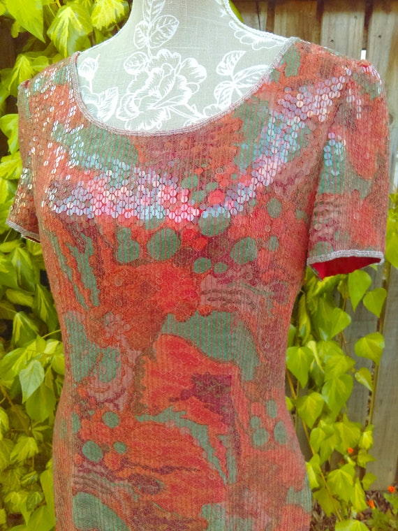 A Special Red/orange Sequin 20's Style Vintage Dr… - image 3