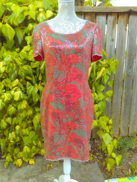 A Special Red/orange Sequin 20's Style Vintage Dr… - image 2