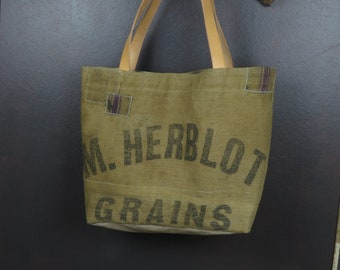 Unique basket Tote style campaign in old burlap (recycled grain sacks) handmade piece