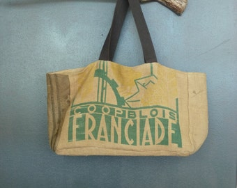 e64c59ab7a Large tote market original burlap advertising old recycled (authentic bag  cooperative Blois) handmade creation France