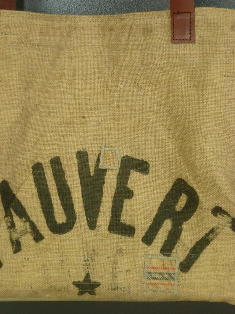 creating small-scale Beach basket or Tote to racing burlap upcycle real former advertising processed grains bags