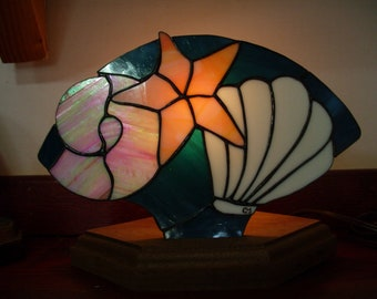 Stained glass fan lamp Shells