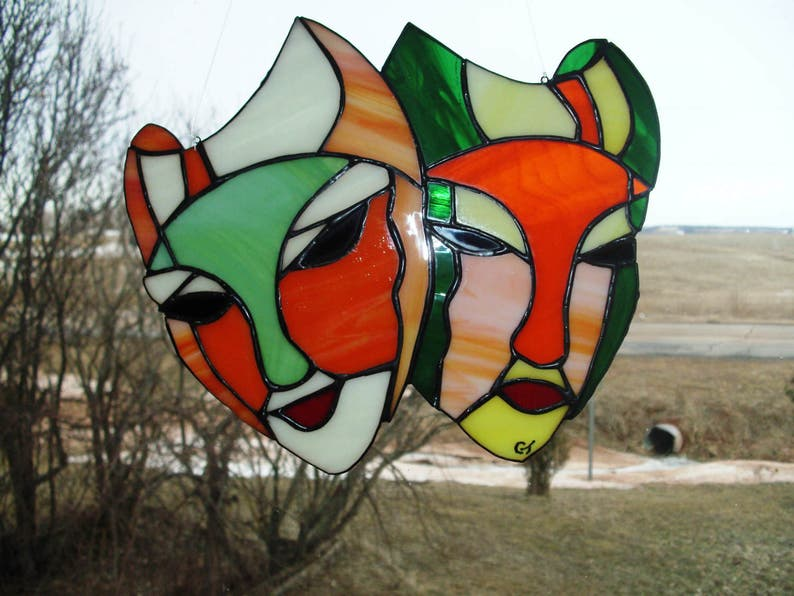 Stained glass theater mask