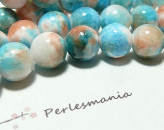 orange R7381 10 6mm blue dyed jade beads