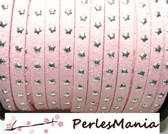 1 meter suede with silver rivets H609 PALE pink stars, 5 by 2mm, DIY