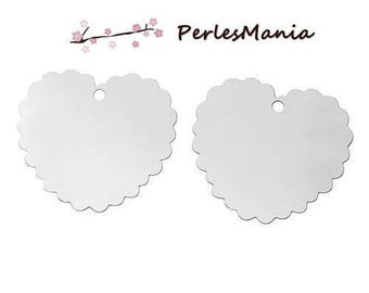 20 PRINTS LACE HEART SILVER PLATINUM S1156940 STAINLESS STEEL