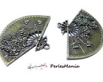 Jewelry supplies: 1 large fan with roses pendant bronze ref90