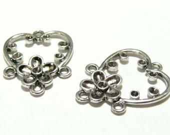 2 pendants multiconnecteurs flower hearts going ref P10805