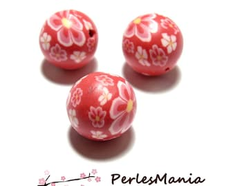 fimo flower power pink ref P180y in tones pink 12mm 10 beads