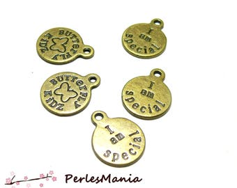 Crafting supplies: I AM SPECIAL Bronze A1296 10 pendants