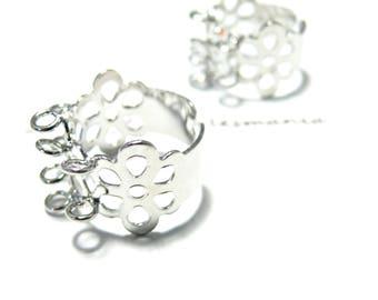 Finish jewelry: 5 rings mulit Platinum Silver Flower rings