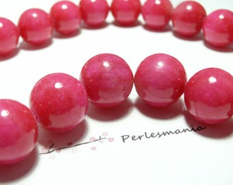 2 pink dyed jade 14mm beads