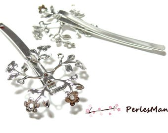 10 support of cherry blossom ID31895 platinum silver hair clip