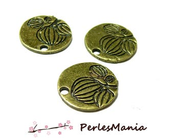 Crafting supplies: 2 Bronze P13958 Lotus Flower pendants