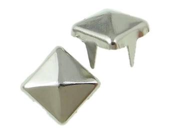 PAX 100 Stud rivet 6mm square pyramid 4 claw silver plate