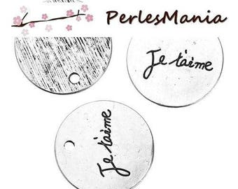 PAX 10 JE T AIME S1183043 ANTIQUE silver tone charms pendants