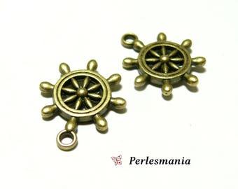 Crafting supplies: 4 pendants P122979 Bronze ship wheel