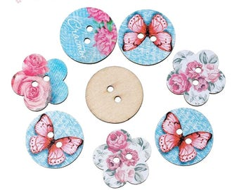 6 flowers pink blue multicolored wooden buttons