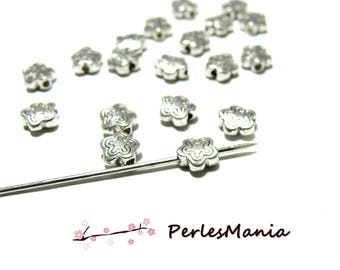 Set of 100 beads spacer double flower old silver H11690