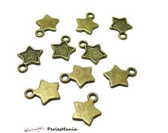 Crafting supplies: 10 pendants star Bronze OB681