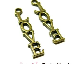 40 pendants love P23518 Bronze jewelry making supplies