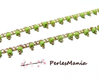 50 cm chain 2mm lime green seed beads and gold, DIY