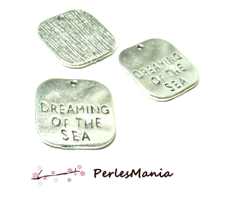 PAX Locket charm pendants 10 square Dreaming of the Sea color silver Antique PS1128907